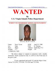 The wanted posted issued by VIPD for suspect Steve Tyson.