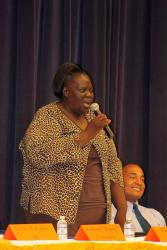 Senatorial aspirant Shirley Sadler answers a question from the CAHS students while Sen. Louis Hill looks on. (Photo James Gardner)