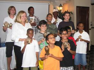 The winners of the St. Thomas-St. John Open Scholastic Chess Tournament
