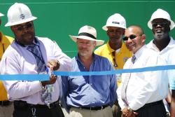 WAPA Executive Director Hugo Hodge cuts the ribbon at the Richmond substation dedication.