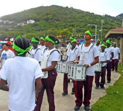 The Addelita Cancryn Junion High School band takes part in the 'Mindful Walk' Saturday.
