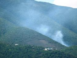 Oct. 12 photo of an apparent fire on Tortola at the Pockwood Pond dump (courtesy of Sloop Jones).