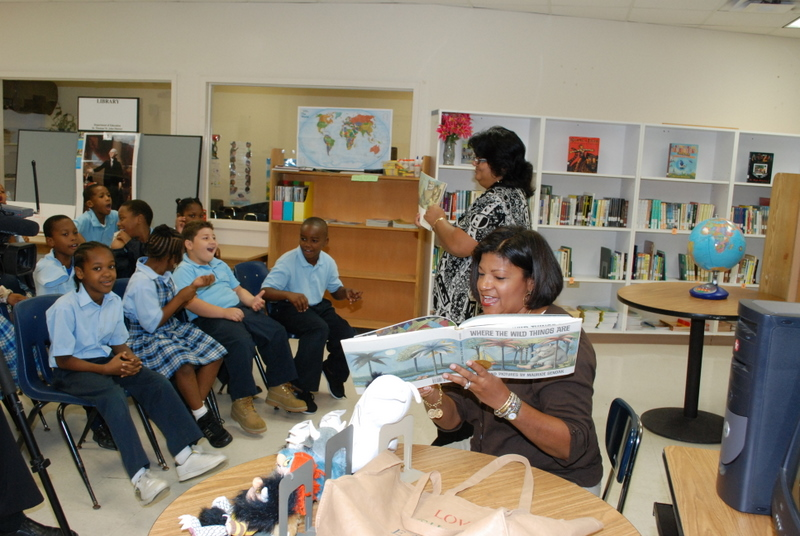 "First Lady Cecile deJongh introduces the class to Sendak's classic, ""Where the Wild Things Are."""