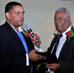 Gov. John deJongh Jr. (left) and BVI Premier Ralph O'Neal  at a BVI-USVI Friendship Day ceremony in October.