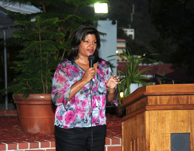 V.I. first lady Cecille deJongh addresses a fundraising event for Camp Shriver.