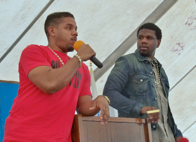 Timothy Thomas, in the red shirt, and brother Theron Thomas, who form the songwriting-production team of Rock City, performed during the conference.