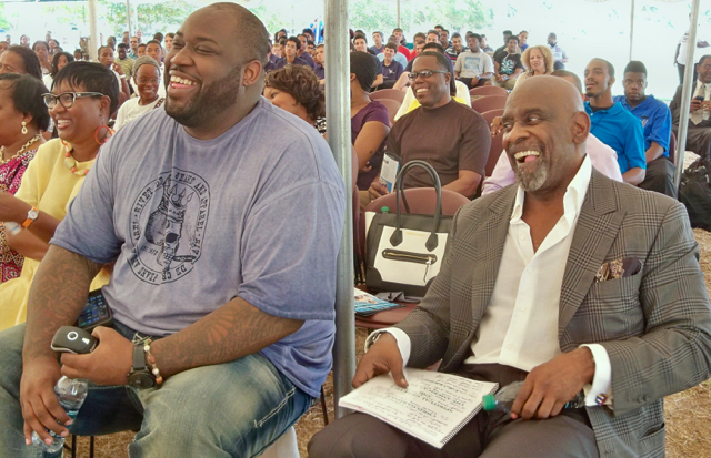 Chris Gardner Jr., left, and Chris Gardner Sr. at the Man-Up Empowerment Conference at UVI.