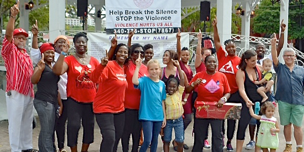 St. THomas residents take part in 'One Billion Rising' at Emancipation Garden (Photo provided by Family Resource Center)