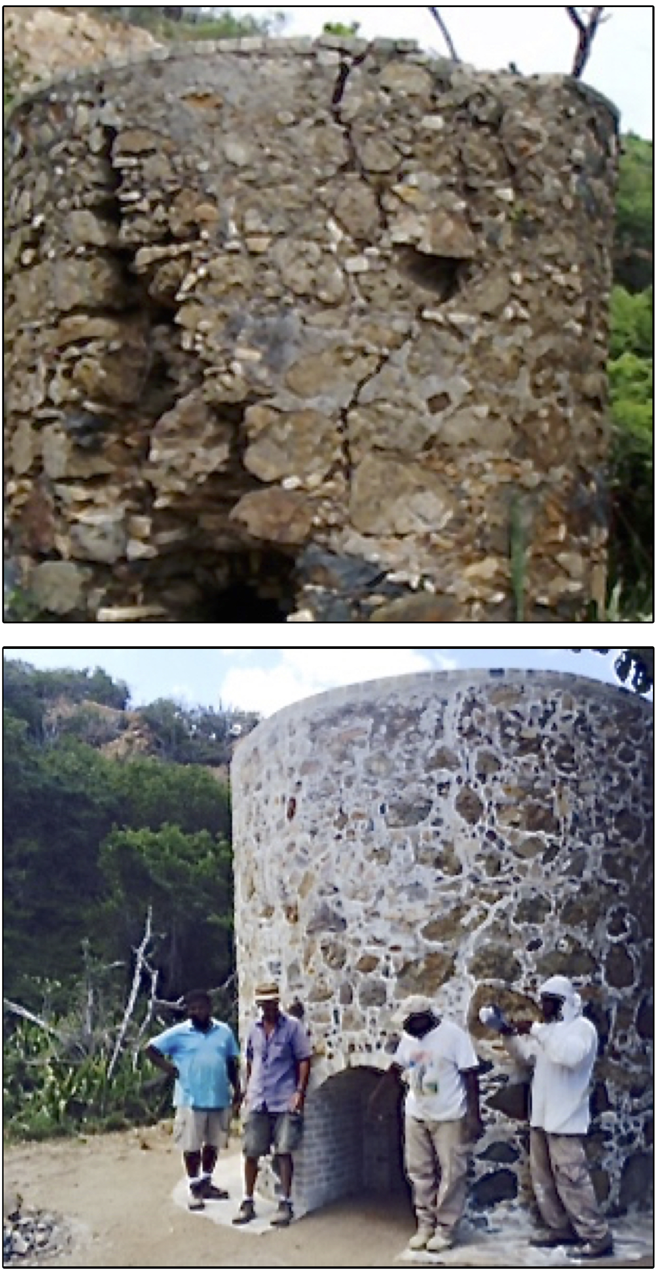 The Hassel Island lime kiln before it was repaired, aboive, and after the restoration. (Photos provided by the St. Thomas Historical Trust)