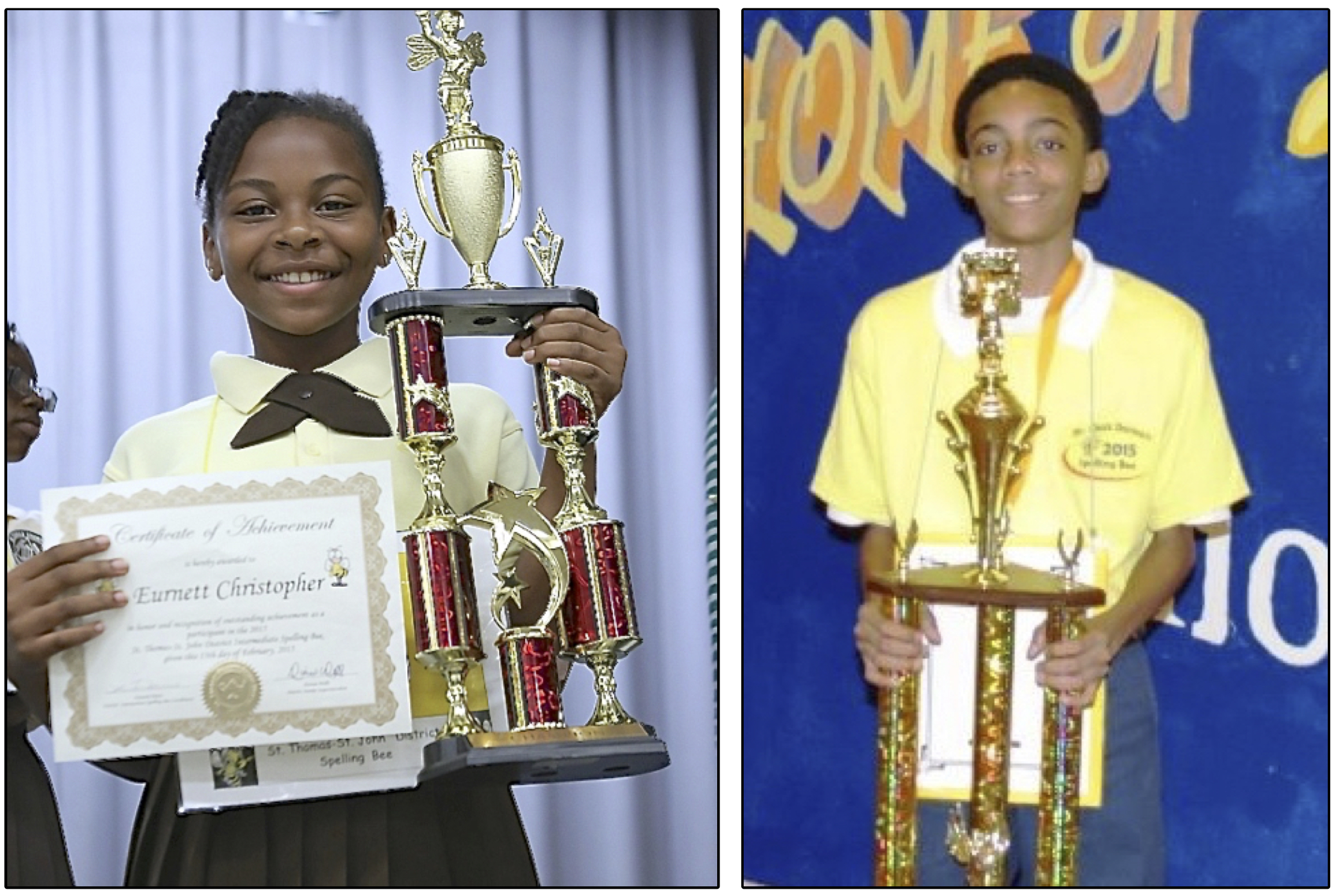 Eurnett Christopher, left, and Khaien Donawa hoist their trophies won in Friday's district spelling bees.