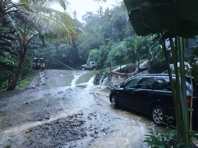 Rain cascades down a St. Thomas driveway. (Photo provided by Jay Lammering)