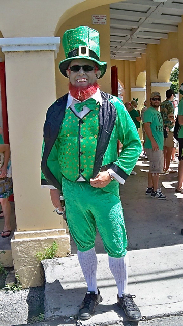 Ken Silva lent color (green, of course) by dressing as a leprechaun.