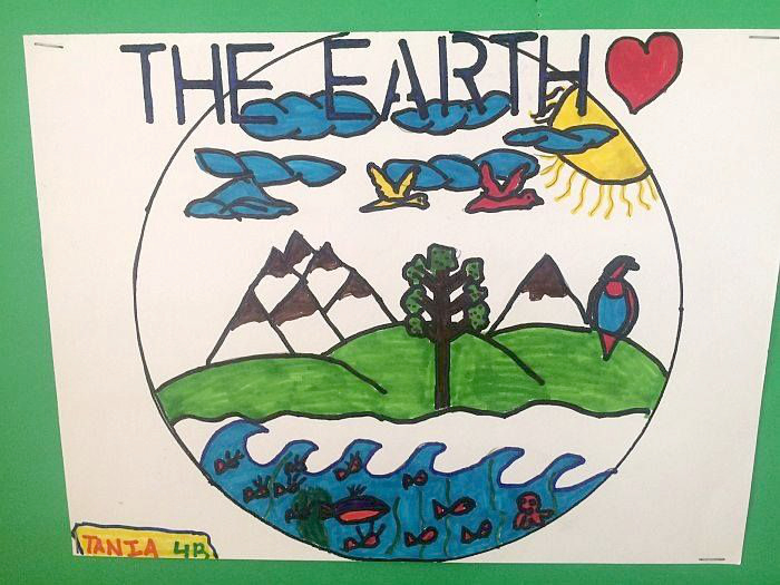 The halls of Antilles School were decorated with posters extolling the environment.