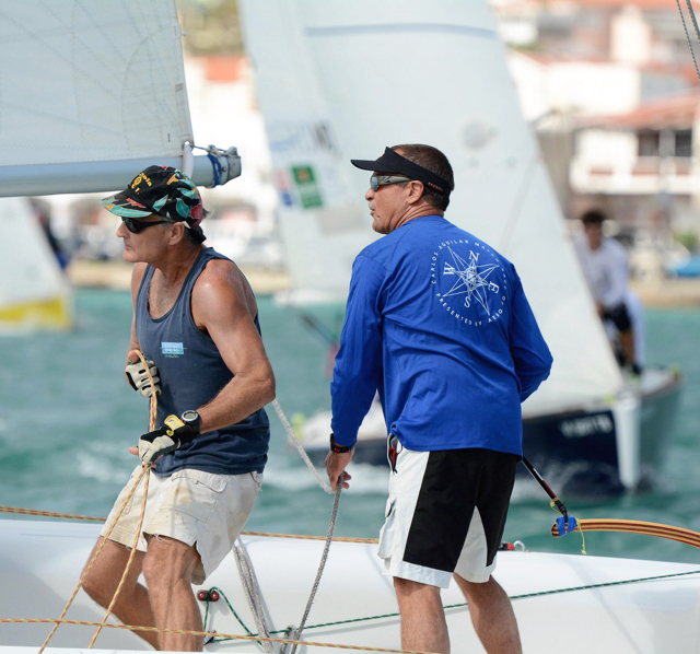 Peter Holmberg, right, and crew member Maurice Kurg race Saturday. (Dean Barnes photo)