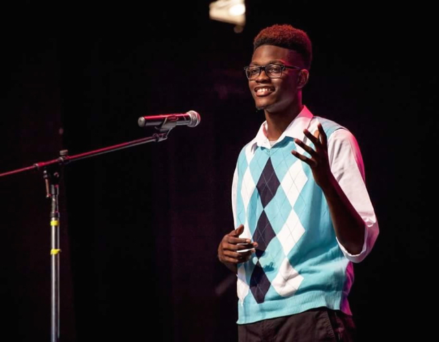 Irvin Mason Jr. performs in the Poetry Out Loud competition. (Submitted photo)