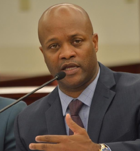 Finance Commissioner and PFA Executive Director Valdamier Collens testifies at Wednesday's budget hearing. (Barry Leerdam photo, provided by the V.I. Legislature)