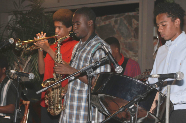 Members of the Virgin Islands Youth Ensemble perform one of their biweekly performances at the Old Stone Farmhouse restaurant in St. Thomas. (Photo provided by Branford Parker)