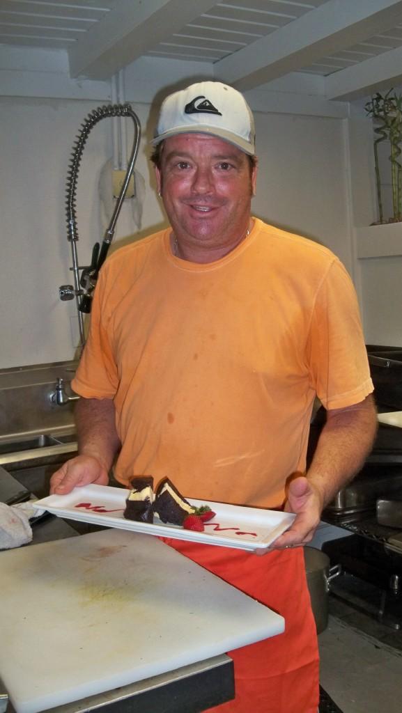Brant Pell prepares dessert.