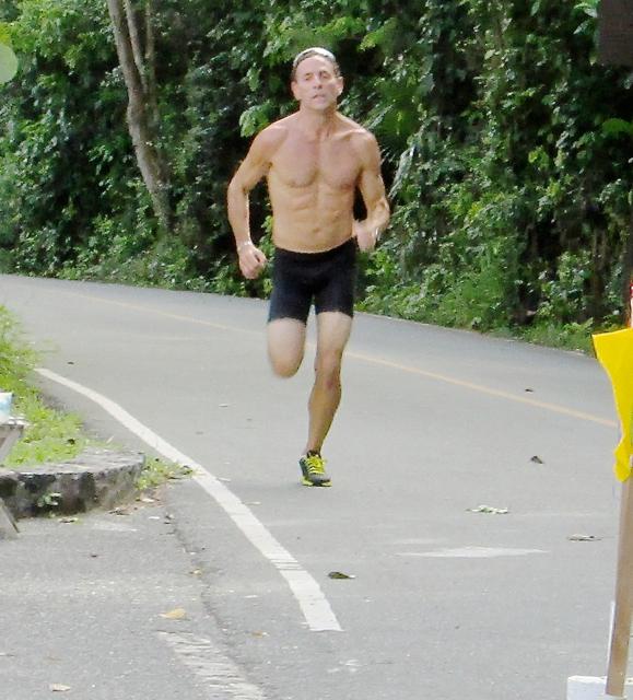 First-place men's aquathoner finisher Charles Hamel sets the pace.