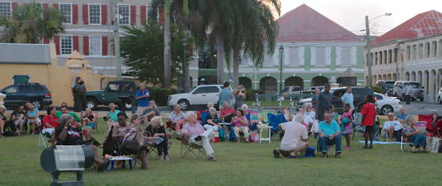 Crowd gathers on the Park Service lawn in Christiansted for a recent Jazz in the Park concert. (Photo provided by Gayle Vanasse)