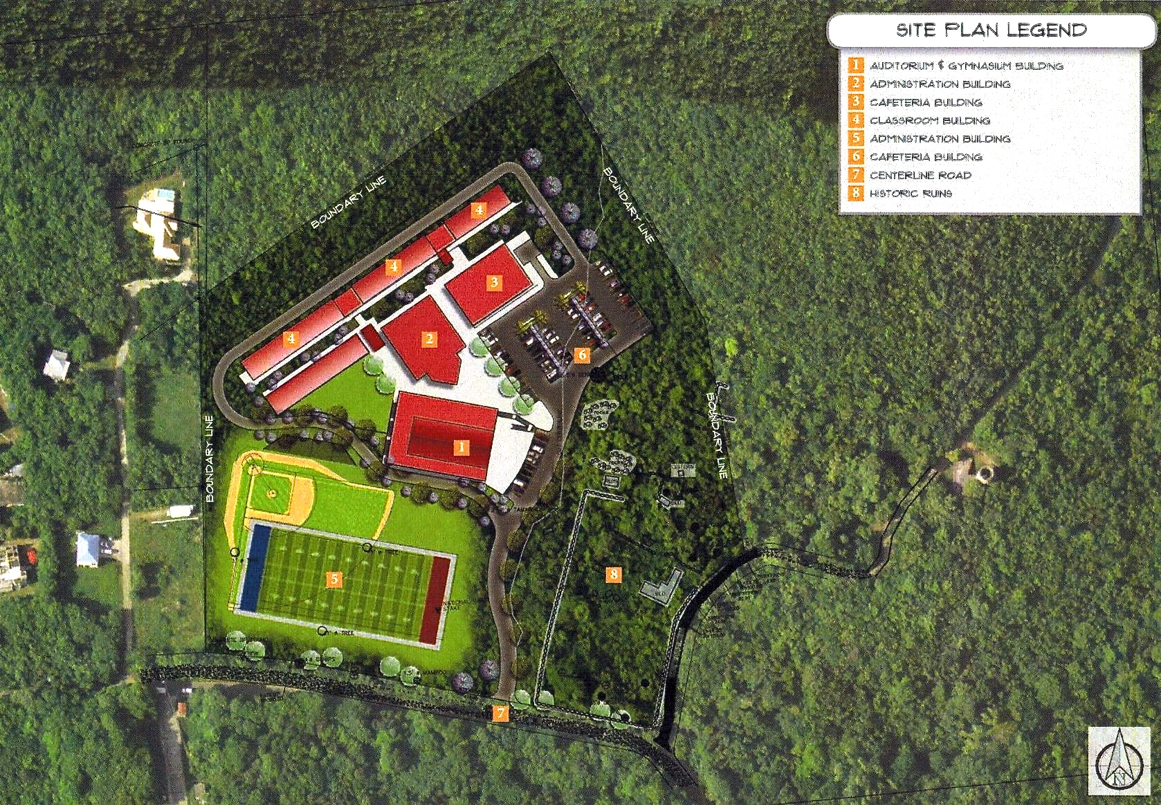 The site plan of the proposed St. John school in Catherineberg.