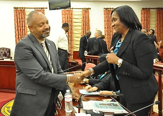 Sen. Tregenza Roach greet Education Commissioneer Donna-Frett Gregory Wednesday at the Senate.