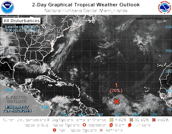 NOAA satellite image at 8 p.m. Tuesday shows the low pressure system moving towards the Antilles.