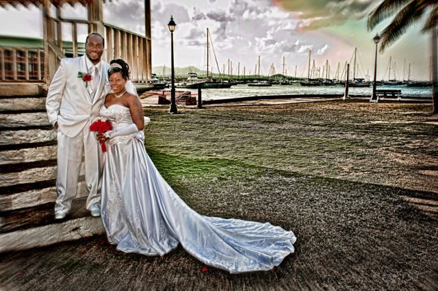 A wedding portrait of Heidi Henry and Wayne Gerard Jr., photographed by Denise Bennerson.