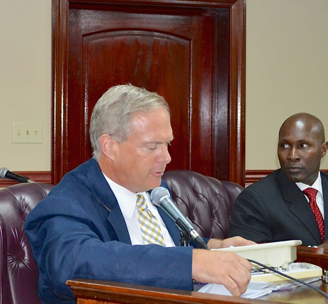 Broadband V.I. co-founder Mike Meluskey testifies at Friday's hearing while Tony Shepherd, CEO of Choice Communication looks on.