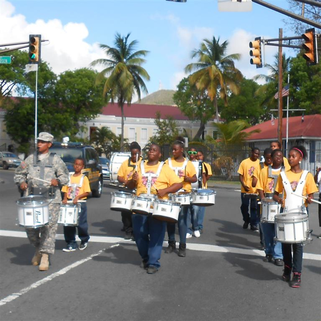The Addelita Cancryn Junior High School Dynamic Innovations Drumline add oopmph to the race.