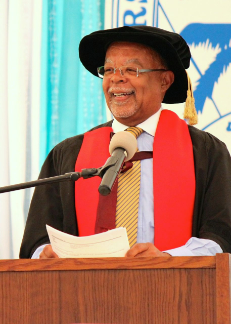 Harvard professor and keynote speaker Henry Louis Gates, Jr., tells the 2014 UVI graduates about the importance of looking back at their past to steer toward the future.
