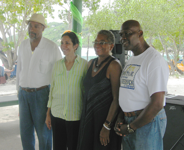 From left, candidates Moleto Smith, Soraya Daise Coffelt, Donna Christensen and Calford Martin at nursing celebration at Magen's Bay.