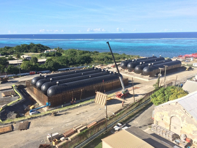 Eight propane tanks in place at the Estate Richmond Power Plant on St. Croix in this August 2014 file photo.