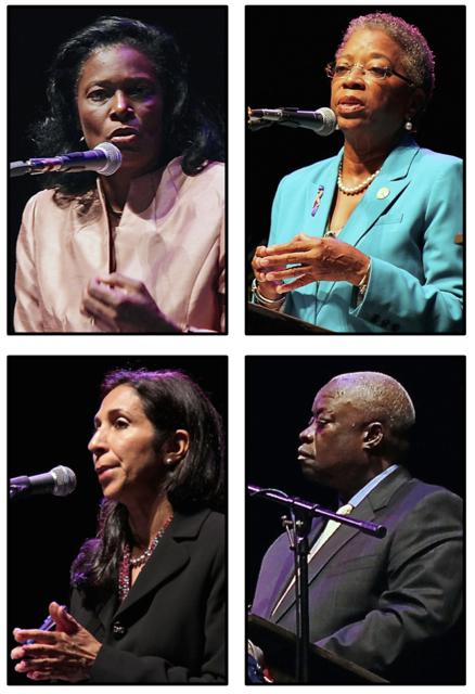 Gubernatorial hopefuls, clockwise from upper left, Mona Barnes, Donna Christemsem, Kenneth Mapp and Soraya Diase-Coffelt speak at Wednesday's candidate's forum.