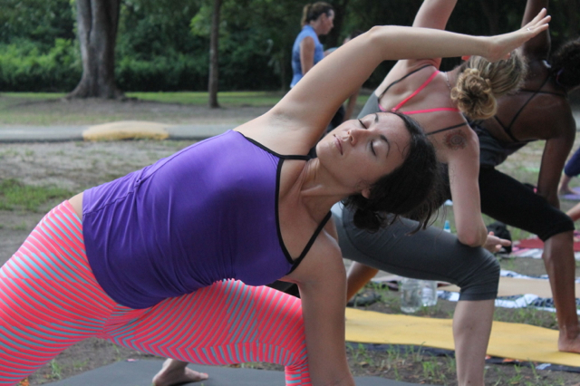 Stretching for peace at the Global Mala Yoga.