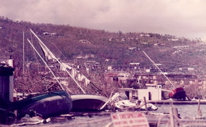 Boats driven ashore by the force of Hurricane Hugo's winds litter the battered coastline of St. Croix. Photo courtesy of Sunlight beams through a roof that has blown off a St. Croix home. Photo courtesy of Chenzira Kahina.
