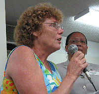 Pam Gaffin (left) at Tuesday's meeting, with Marie-Elsie Dowell of PB Americas.