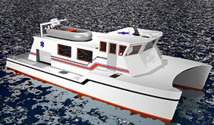 Artist's drawing of the ambulance boat soon to make the Virgin Islands its home.
