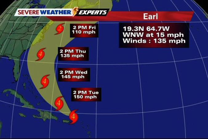 Hurricane Earl's 5 p.m. coordinates (Illustration Courtesy National Hurricane Center).