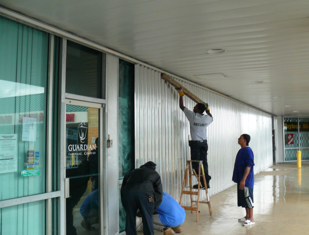 Battening down at Sunshine Mall in St. Croix.