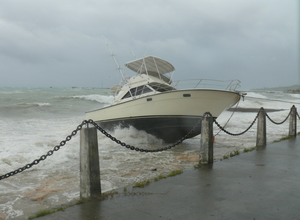 A motorboat foundering in Frederiksted.