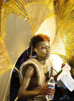 A golden dancer glows in the sun during the 2010 Crucian Christmas Festival Parade.