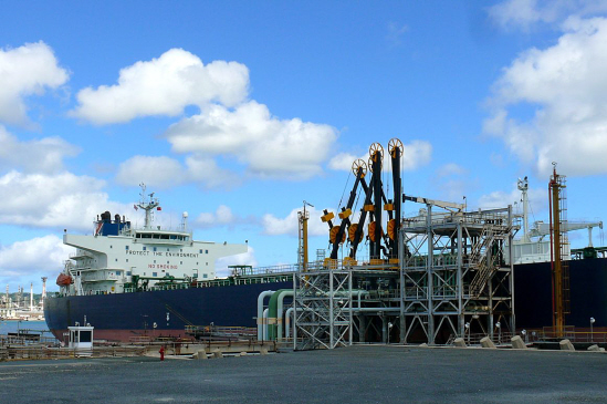 An oil tanker unloading crude at Hovensa's port facility.