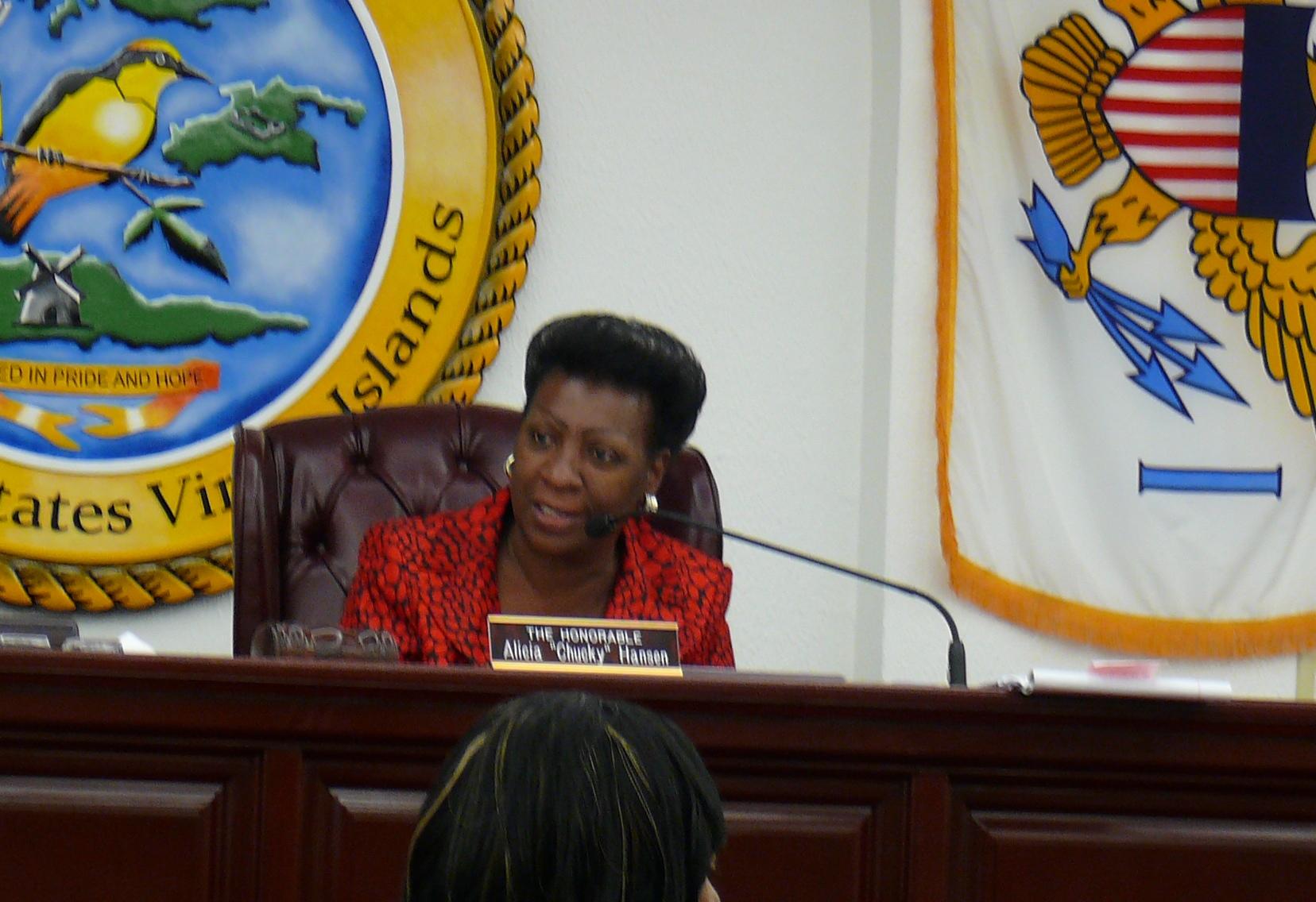 """Sen. Alicia """"Chucky"""" Hansen chairing a committee hearing Wednesday."""