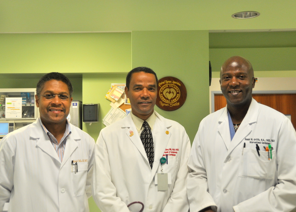 The center's cardiologists, Drs. Michael Potts, Dante Galiber and Kendall Griffith.