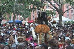 Mocko jumbie dazzles crowd at Caribbean Culture Fest.