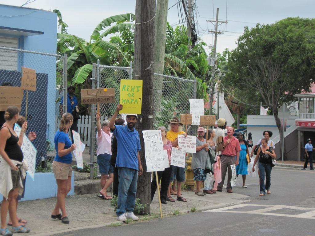 WAPA protesters assembled across from the Legislature building on St. John.