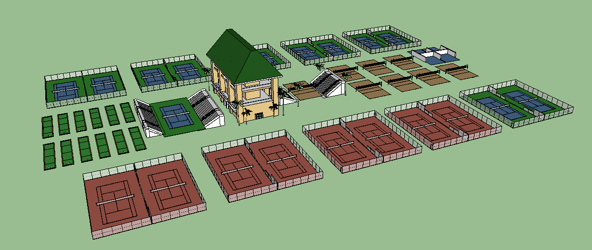 Proposal for tennis and volleball areas.