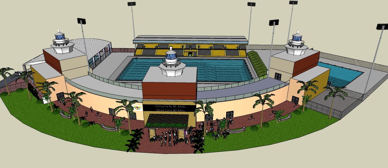 Aquatics stadium rendering.