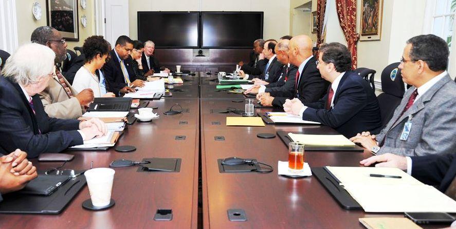 Gov. John deJongh Jr. meets with Hovensa and its associates along with Attorney General Vincent Fraser.